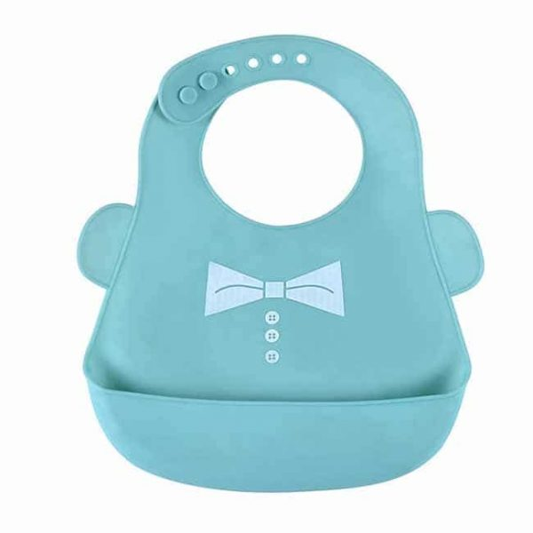 blue silicone bibs