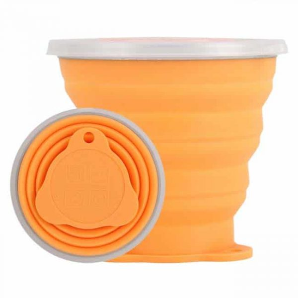 Orange collapsible silicone cup