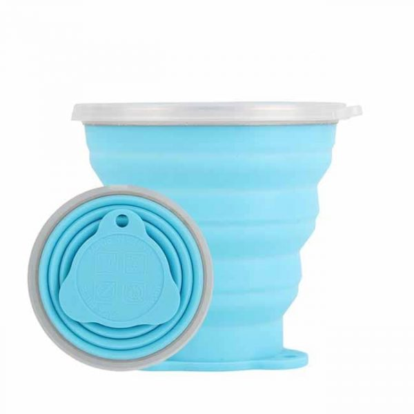 Blue silicone collapsible cups