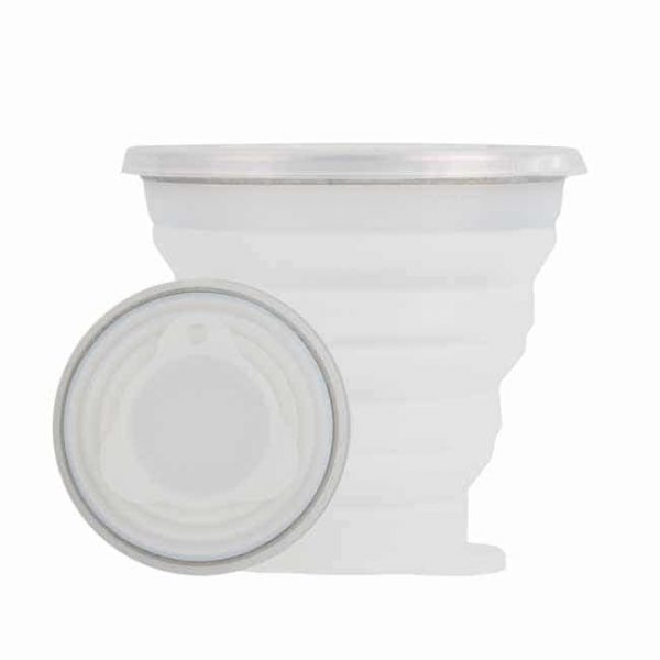 White silicone collapsible cups
