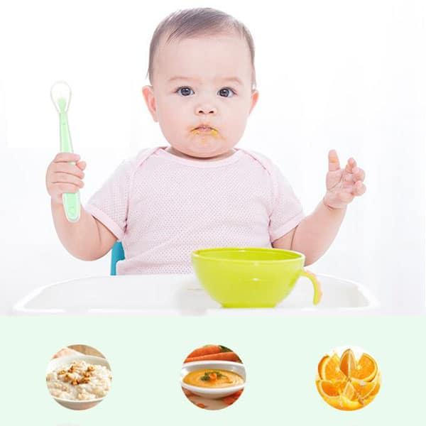 Baby feeding with silicone bowl and spoon