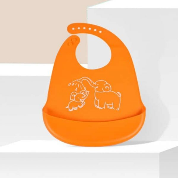 Orange Silicone baby Bib
