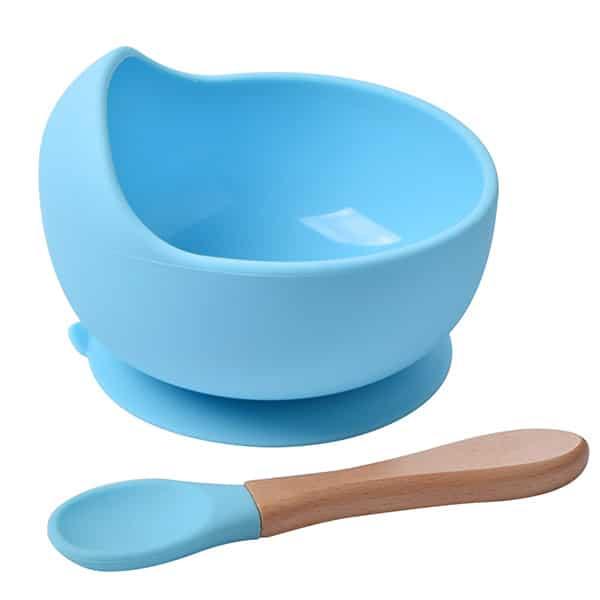 blue silicone bowl+spoon