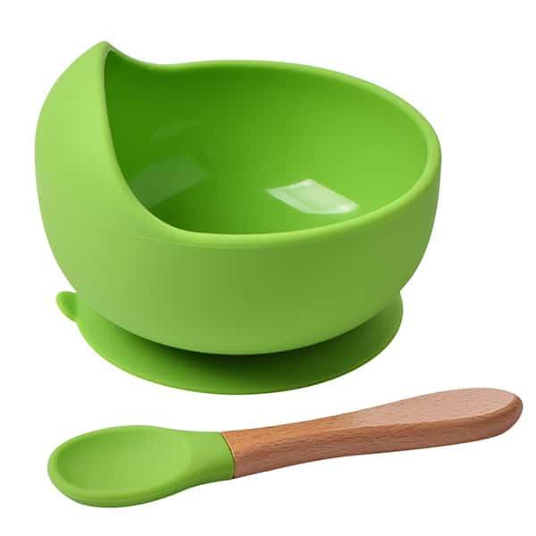 green silicone bowl+spoon