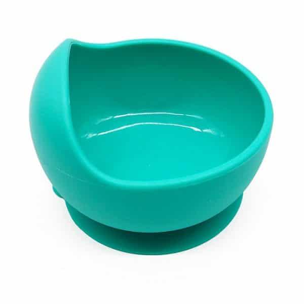 bluish-green silicone bowl