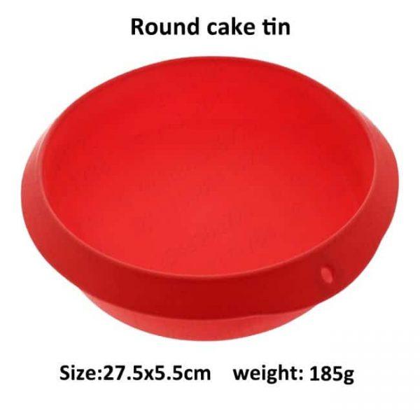 Silicone round cake tin size