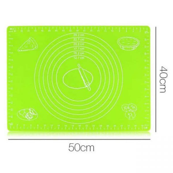 green silicone cooking mat