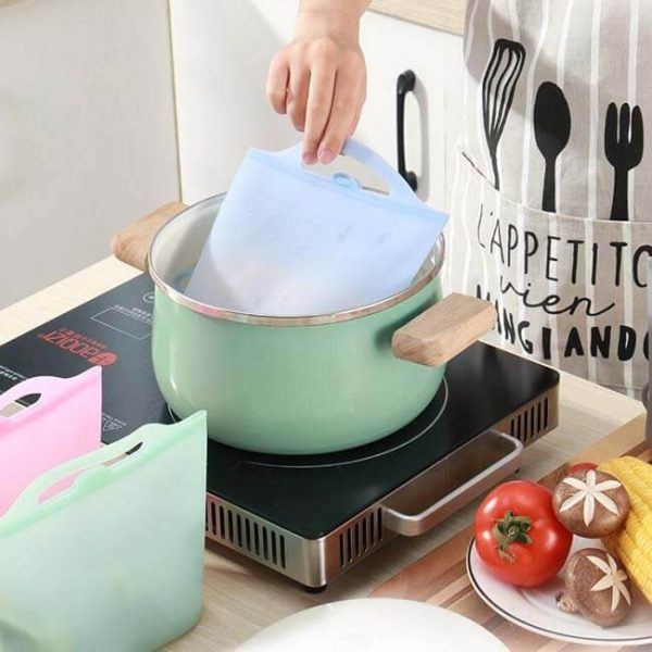 Boilable silicone reusable bags