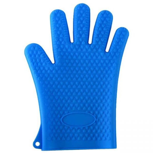 Silicone oven mitts blue color
