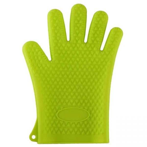 Silicone oven mitts green color