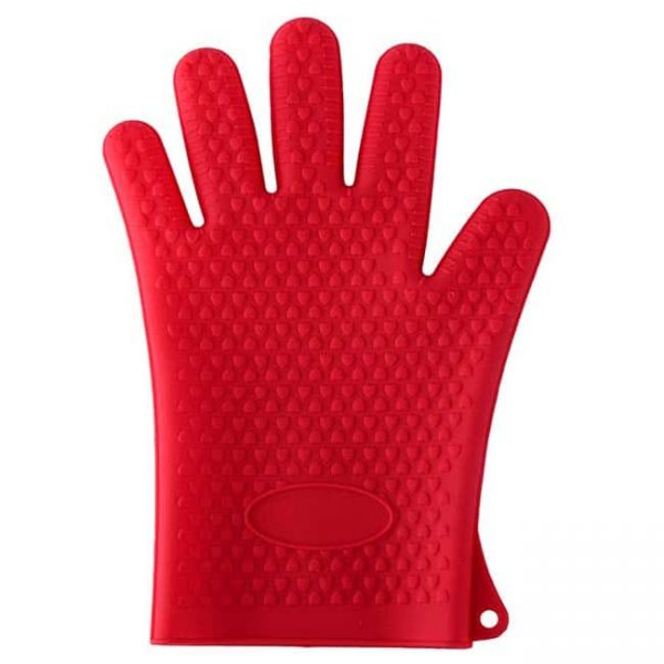 Silicone oven mitts red color