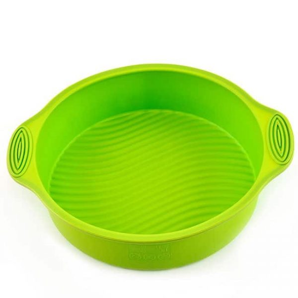 green silicone round baking mold
