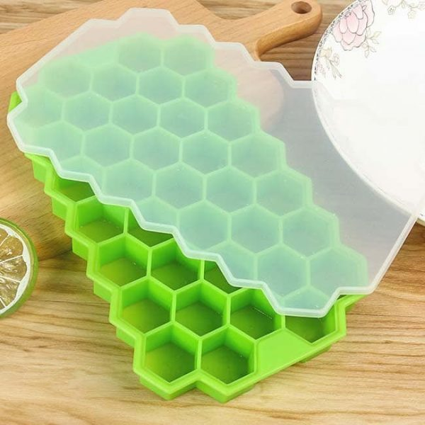 honeycomb silicone ice tray green