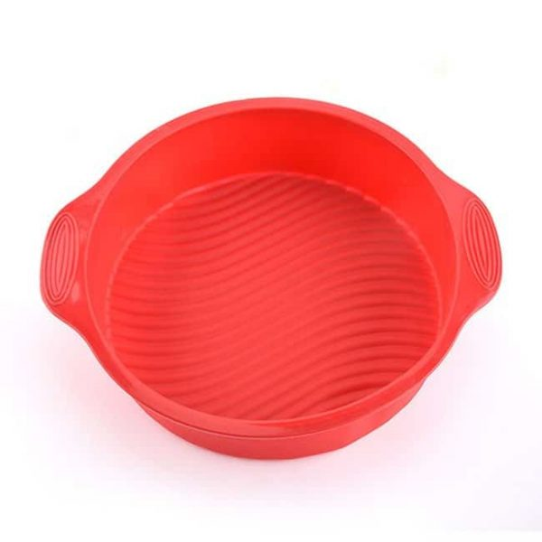 red silicone round baking mold