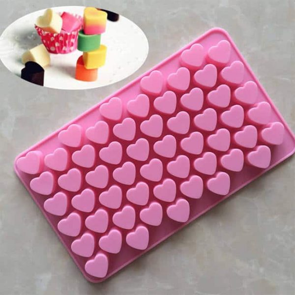 55-cavity 3D heart silicone chocolate molds