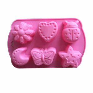 6 Cavity Star Heart Insect Moon Silicone Molds