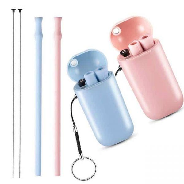 silicone straw with case 2 color