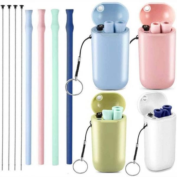 silicone straw with case 4 color