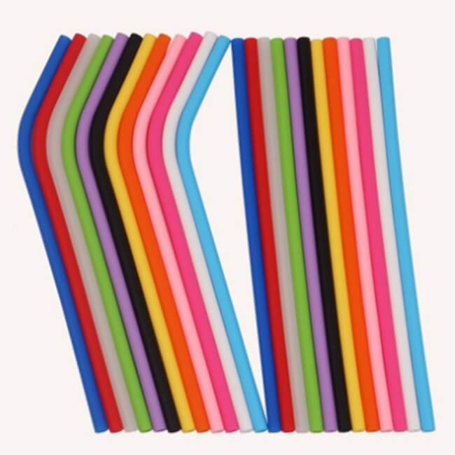 silicone straws straight and bent