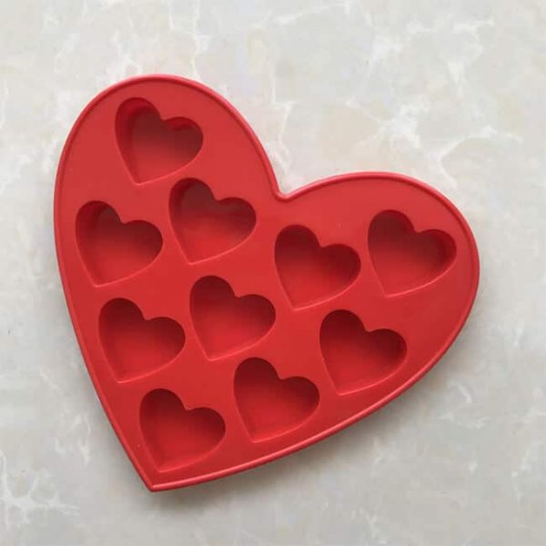 10 cavity Heart shape 3D Silicone Molds