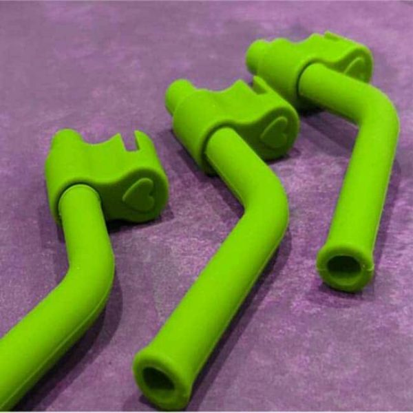 baby silicone straws green