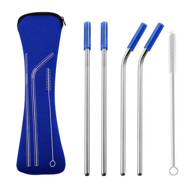 metal straws blue