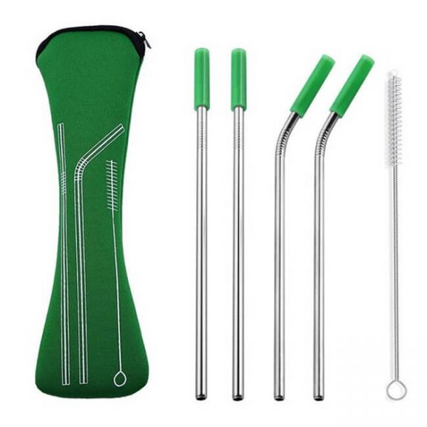 metal straws green
