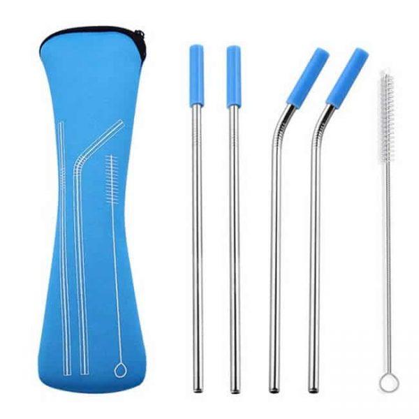metal straws light blue