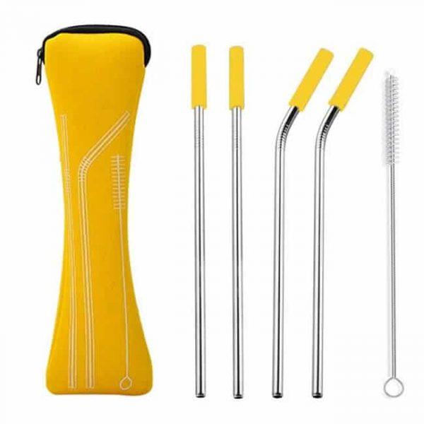 metal straws yellow