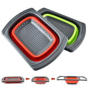 Rectangle foldable silicone drain basket