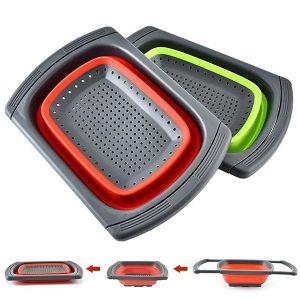 Rectangle foldable silicone drain basket