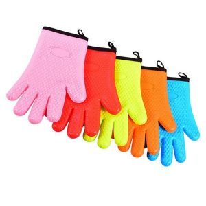 Flexible five-finger plus cotton silicone short gloves (11)
