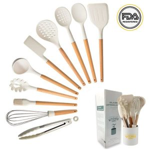 Khaki wooden handle silicone kitchen utensils (1)