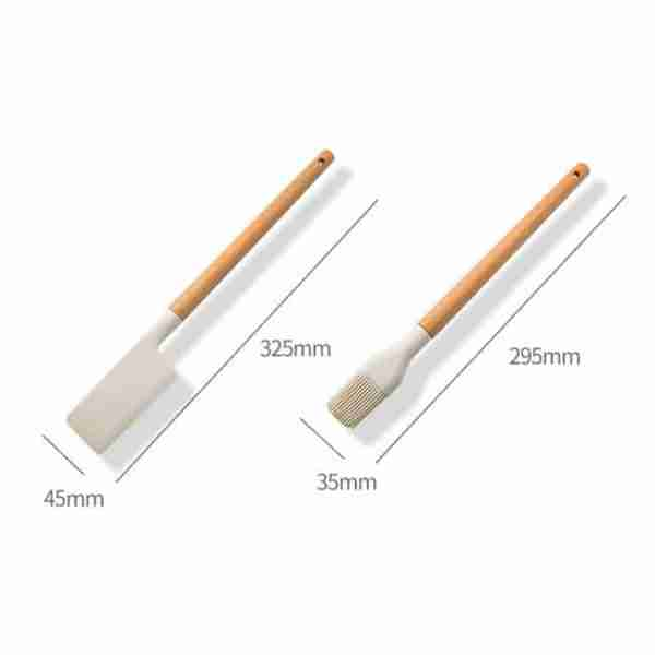 Khaki wooden handle silicone kitchenware set size (4)