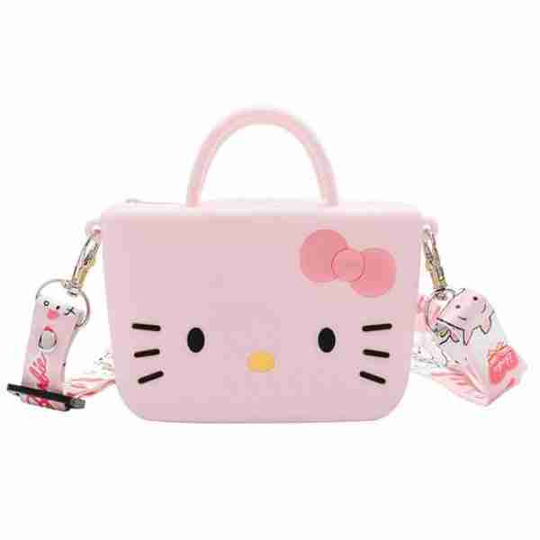 Pink Cartoon Cat-Girl Silicone Bag
