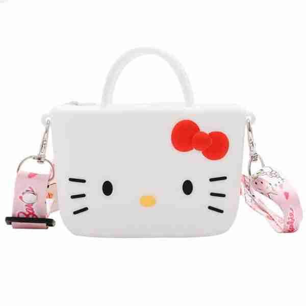 White Cartoon Cat-Girl Silicone Bag